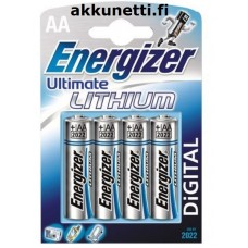 AA-koko Lithiumparisto 1,5V Energizer Ultimate Lithium L91 (4kpl) / Photo